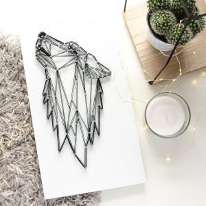 Obraz Wilk skandynawski geometryczny Las Biało czarny String Art