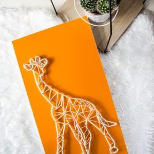 Obraz Żyrafa geometryczna, Afryka, Pomarańczowy obraz String Art