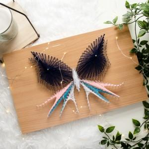 Obraz z motylem, Motyl, Niebieski motyl String Art