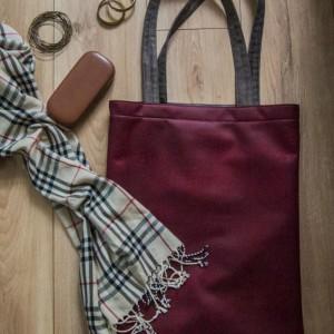 Skórzana bordowa torba na ramię