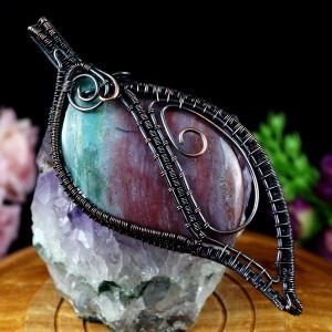 Agat Indiana miedziany wisior z agatem, prezent dla niej, prezent dla mamy, prezent dla żony, biżuteria ręcznie robiona,prezent dla siostry