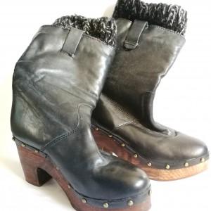 buty skórzane na koturnie z wełnianym wykończeniem nowe