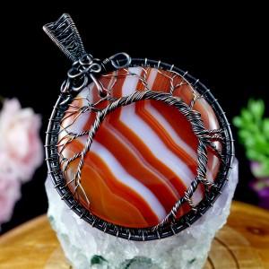 Drzewko szczęścia, Miedziany wisior z agatem pomarańcz, ręcznie wykonany, prezent dla niej, prezent dla mamy, prezent urodzinowy, biżuteria