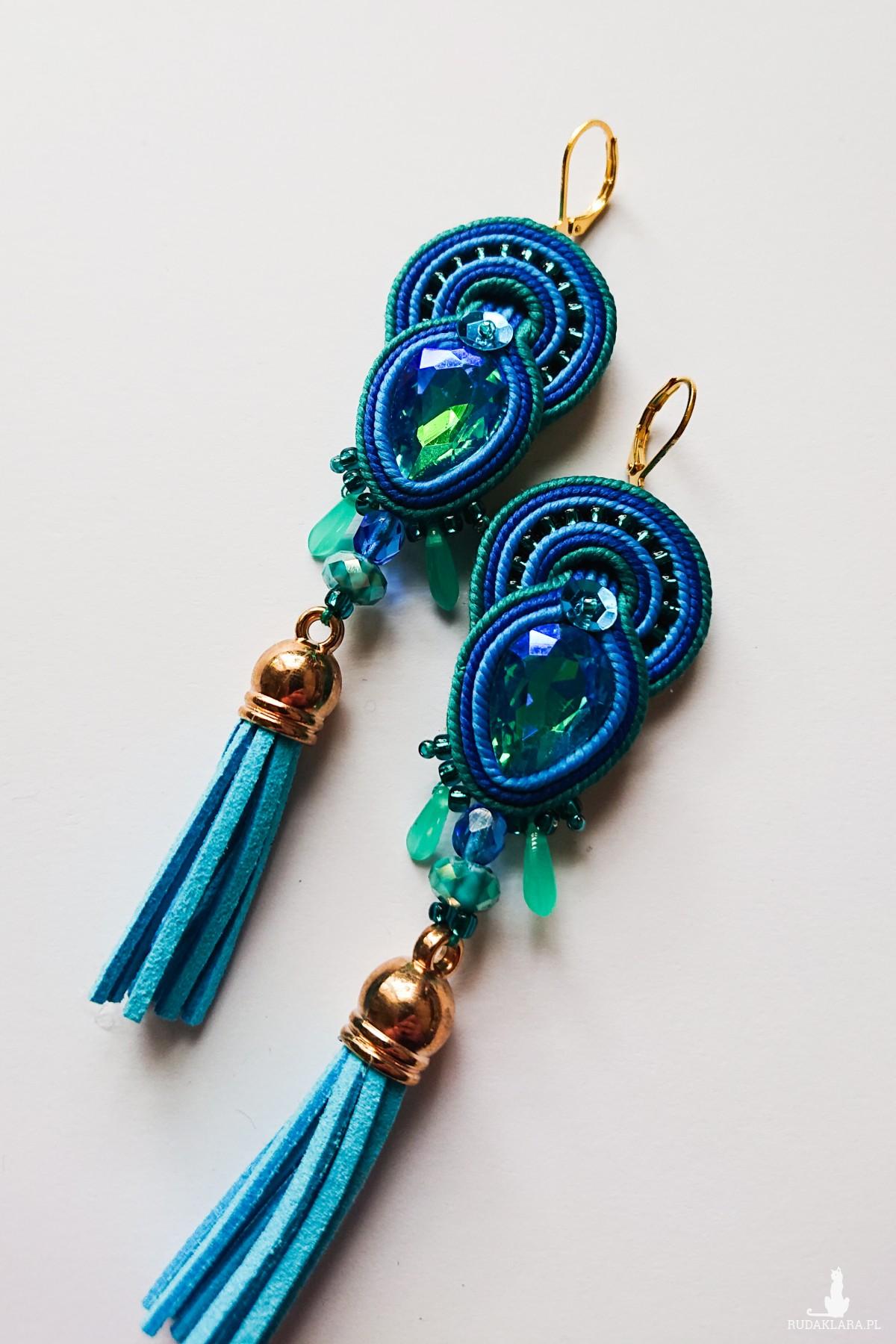 Turkusowo-niebieskie kolczyki z kryształkami