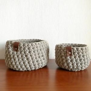 Koszyk ze sznurka bawełnianego beżowy rozm.M