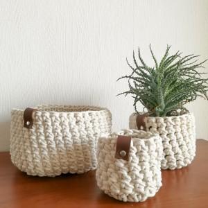 Koszyk ze sznurka bawełnianego kremowy rozm.M