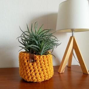 Koszyk ze sznurka bawełnianego żółty rozm.M