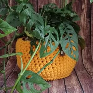 Koszyk ze sznurka bawełnianego żółty S/M/L