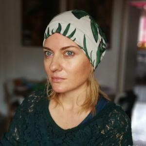 czapka damska codzienna wiosenna na podszewce w liście monstry