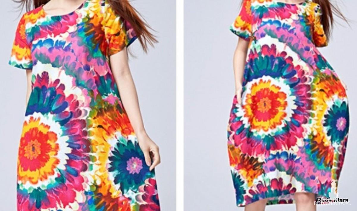 kolorowa sukienka we wzory bawełna  z domieszką sztucznego jedwabiu