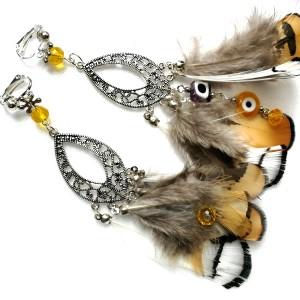 klipsy etno boho folkowe z piórami