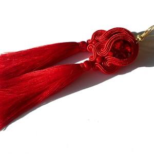 kolczyki sutasz czerwone z chwostem