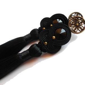 kolczyki sutasz czarne boho z chwostem
