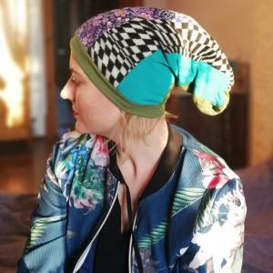 czapka damska szyta patchworkowo etno boho
