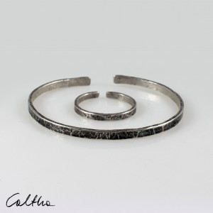 Nieregularne - srebrna bransoletka + obrączka 200131-04
