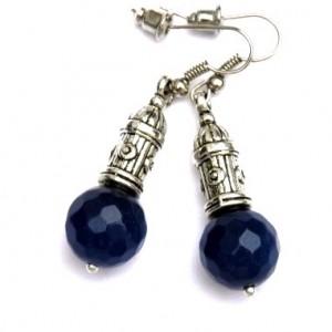 Kolczyki Niebieskie Agat Barwiony 2887-1