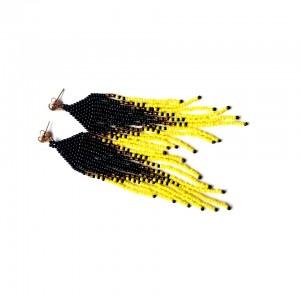 Koralikowe chwosty kolczyki żółto-czarne