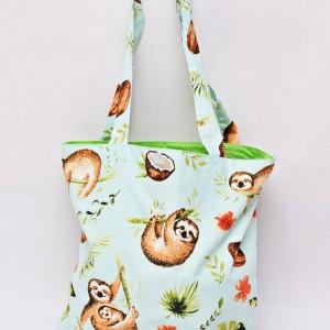 Torba na zakupy shopperka ekologiczna torba zakupowa na ramię eko siatka leniwce