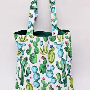 Torba na zakupy shopperka ekologiczna torba zakupowa na ramię eko siatka kaktusy