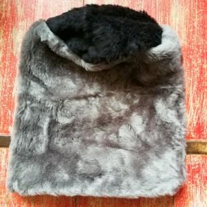 czapka futrzana damska szara handmade uszyta ze sztucznego szarego   futerka