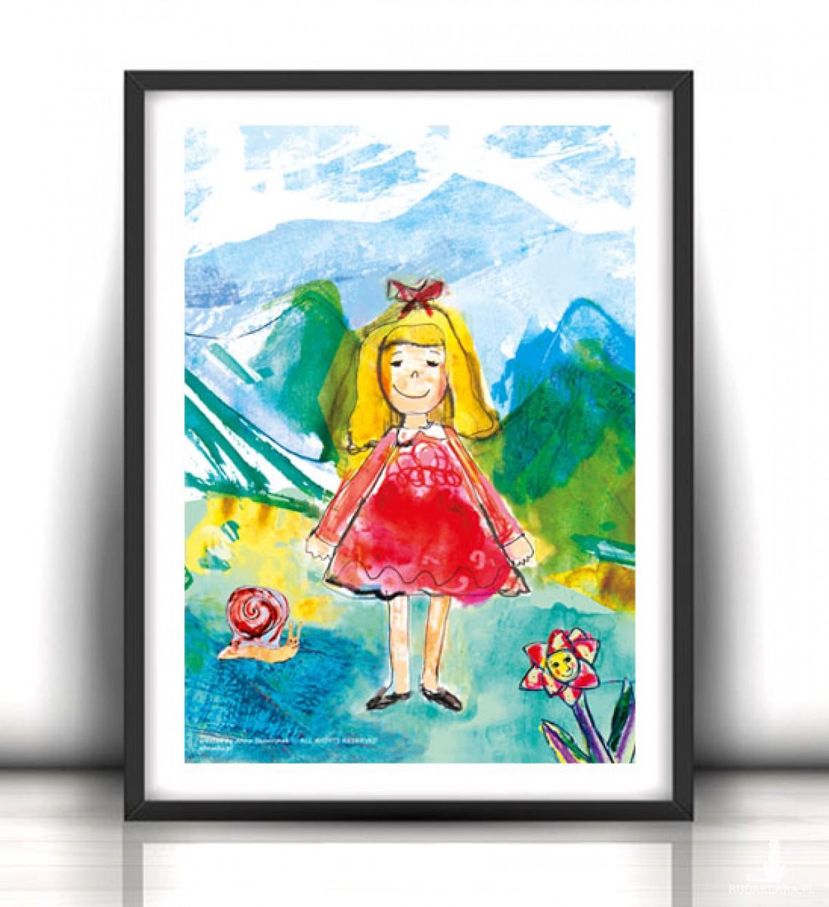 dziewczynka plakat na ścianę, ładny obrazek dla dziewczynki, grafika do pokoju dziewczynki