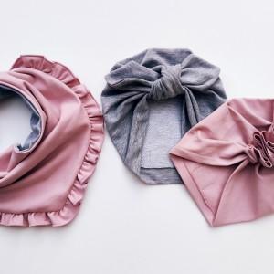 Zestaw 2 turbany i chusta w kolorze pudrowy róż plus szary