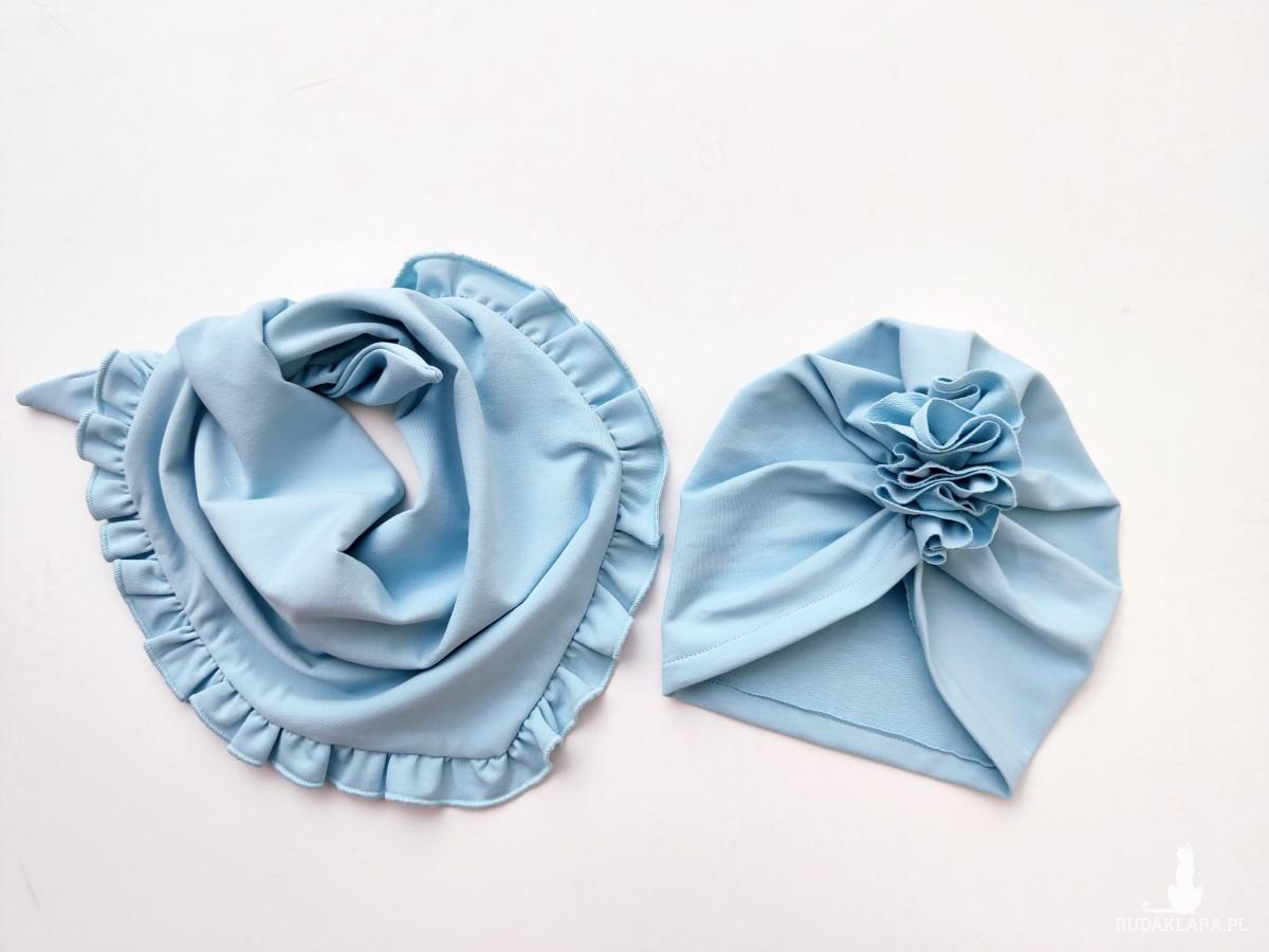 Zestaw turban i chusta w kolorze błękitnym