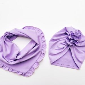 Zestaw wiosenny turban i chusta w kolorze Lila