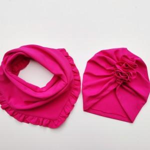 Zestaw turban i chusta w kolorze fuksja