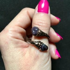 pierścionek ametyst zawijany