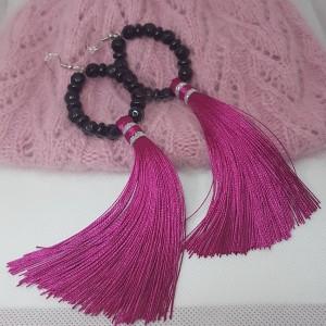 Kolczyki Boho Hot Pink