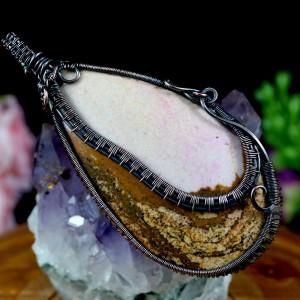 Jaspis, Miedziany wisior z jaspisem, ręcznie wykonany, prezent dla niej, prezent dla mamy, prezent urodzinowy, biżuteria autorska