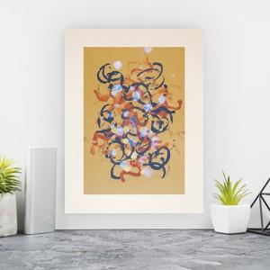 abstrakcja w ciepłych kolorach, oryginalna grafika do salonu, obraz do loftu