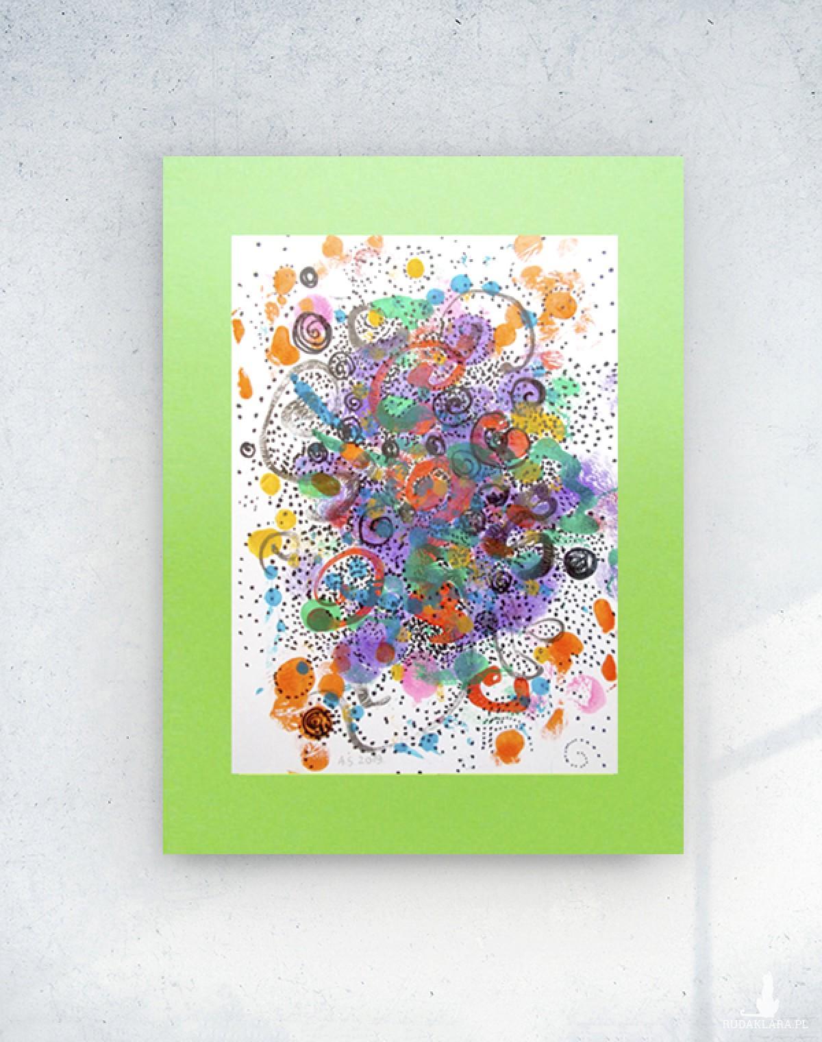 kolorowa grafika do salonu, ładna abstrakcja malowana ręcznie, nowoczesny rysunek na ścianę