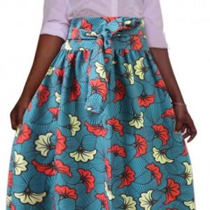 spódnica w stylu afrykańskim  długa wzorzysta zapinana w pasie na zamek