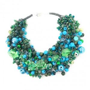 4281 naszyjnik kolia zielony niebieski