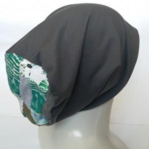 czapka damska szara dzianina handmade szyta góra patchworkowo wiosenna