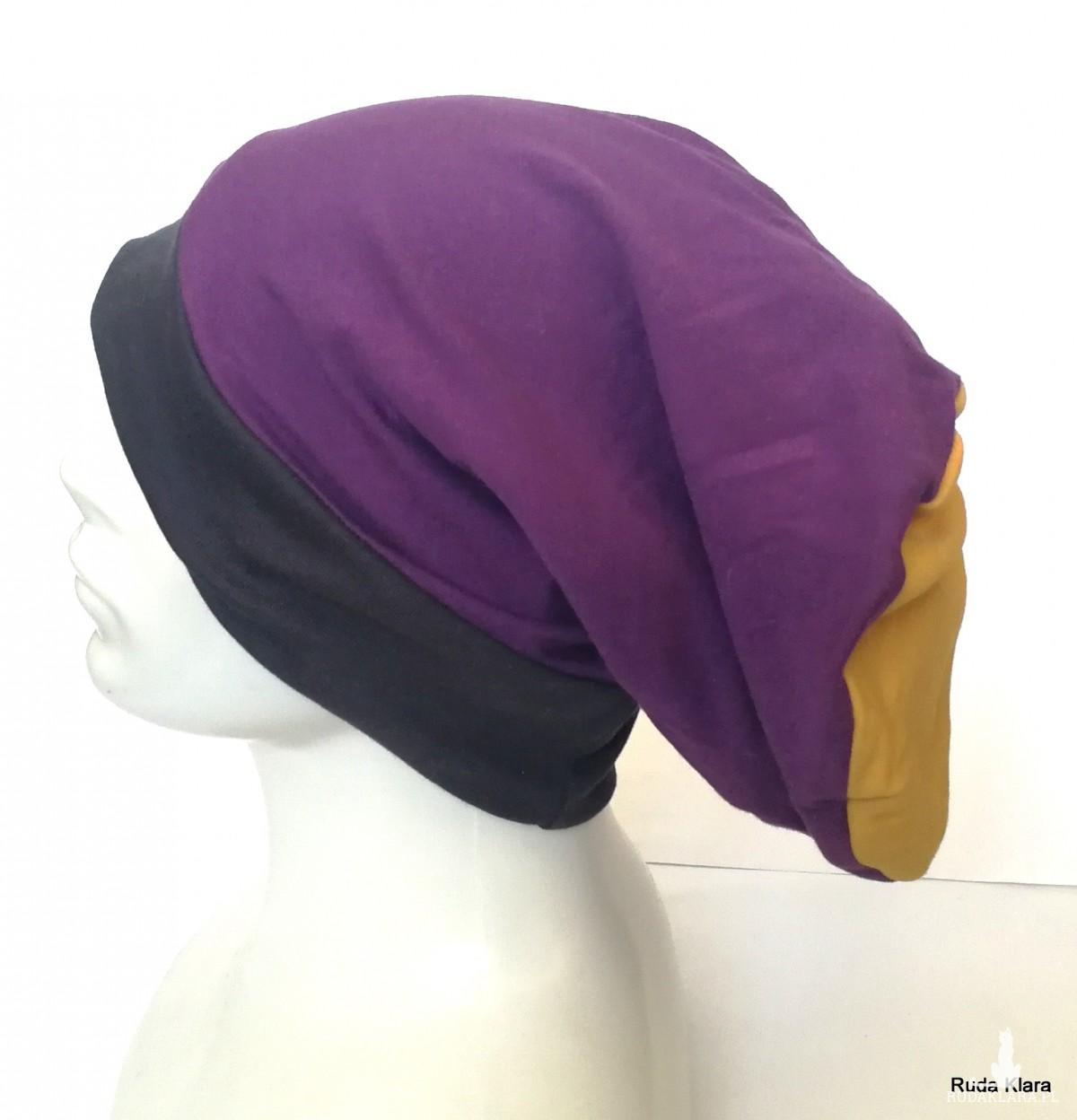 czapka unisex zółta- fioletowa- granat handmade sportowa