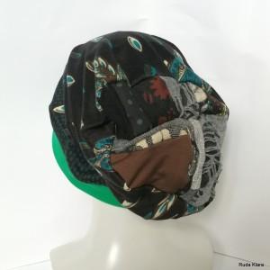 czapka damska kolorowa z patchworkowa góra