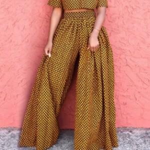 spodnie szerokie jak spódnica we wzory styl afrykański rozmiar M