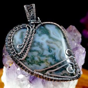 Agat mszysty, Wisior miedziany z agatem, ręcznie wykonany, prezent dla niej, prezent dla mamy prezent urodzinowy biżuteria autorska