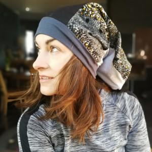 czapka smerfetka długa damska uniwersalna patchworkowa