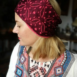 opaska koronkowa bordo na różu etno folk