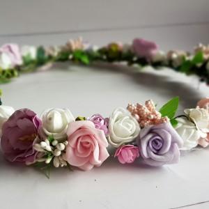 Subtelny wianuszek róż-fiolet