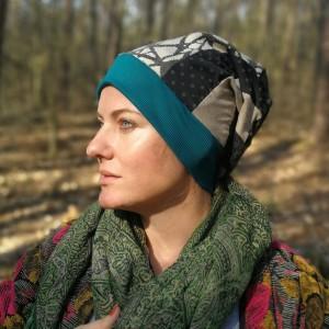 czapka damska szyta patchworkowo bardzo zgrabna codzienna