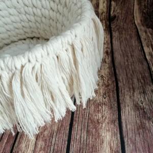 Koszyk BOHO ze sznurka bawełnianego ,naturalny,M.