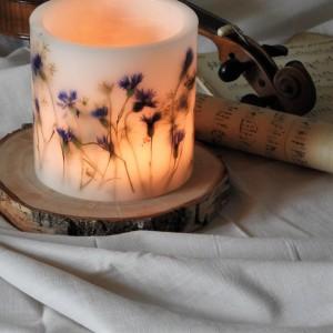 Lampion KWIECISTA ŁĄKA z drewnianą podstawką