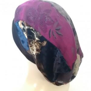 czapka damska szyta patchworkowo wiosenna na podszewce handmade