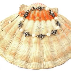 Bransoletka chainmaille z naturalnymi perłami