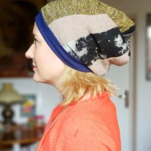 czapka damska szyta patchworkowo smerfetka